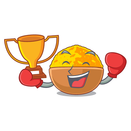 Boxing winner turmeric powder placed wooden cartoon table vector illustration Illustration