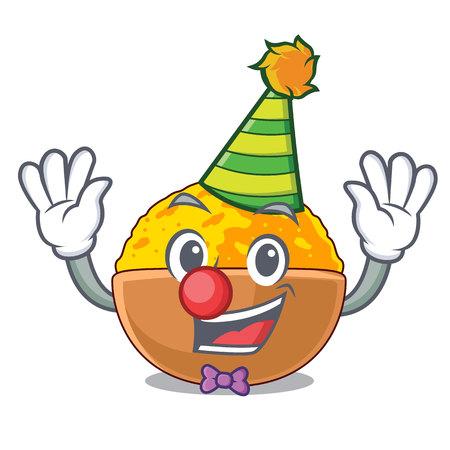 Clown turmeric powder placed wooden cartoon table vector illustration