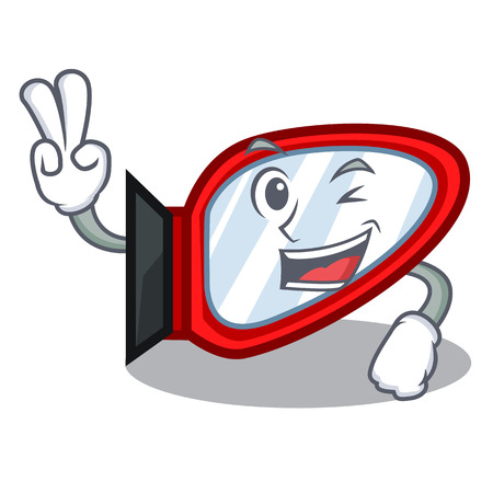 Two finger side mirror in the cartoon shape