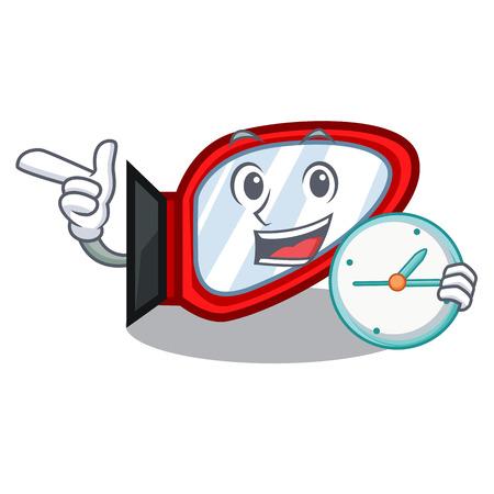 With clock side mirror in the cartoon shape Standard-Bild - 118829400