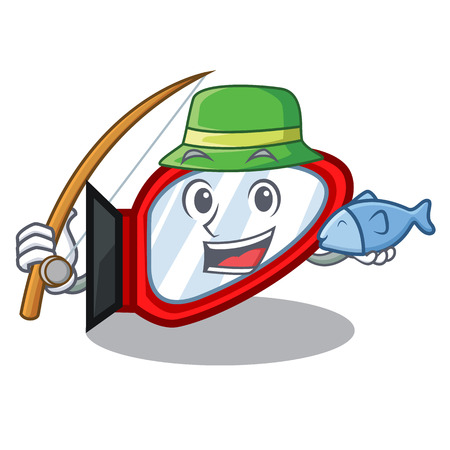Fishing side mirror in a cartoon box vector illustration