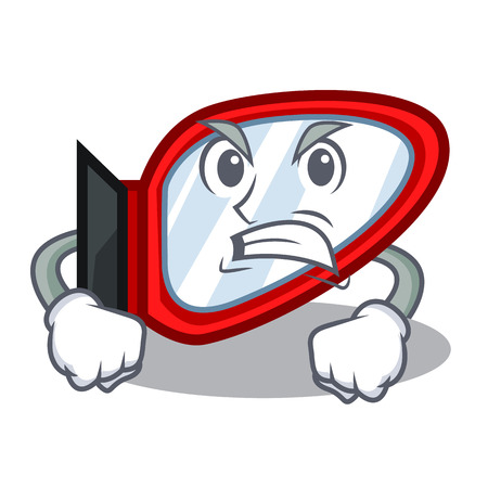 Angry side mirror in a cartoon box vector illustration