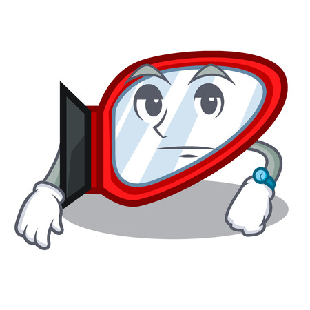 Waiting side mirror next the mascot table vector illustration