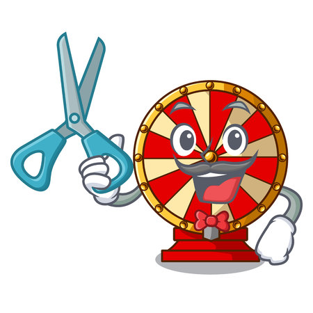 Barber spinning wheel game the mascot shape vector illustration