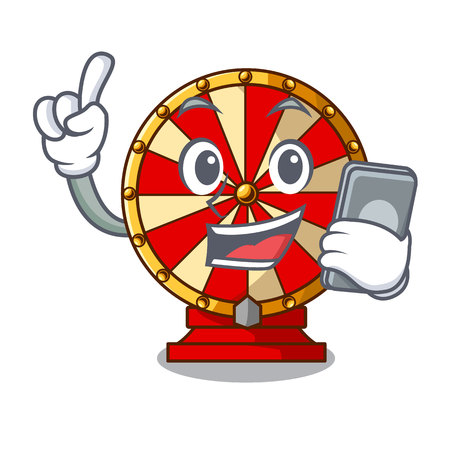 With phone spinning wheel game the mascot shape vector illustration