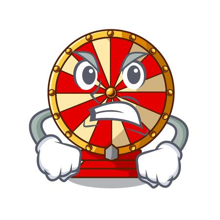 Angry spinning wheel beside wooden cartoon table vector illustration Illustration