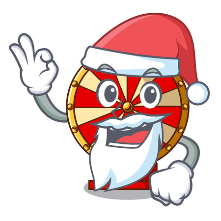 Santa spinning wheel attached the cartoon wall vector illustration