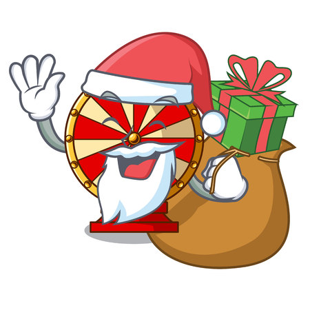 Santa with gift spinning wheel attached the cartoon wall vector illustration