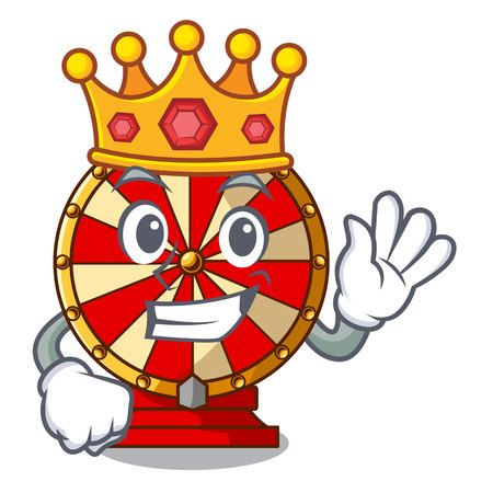 King spinning wheel attached the cartoon wall vector illustration