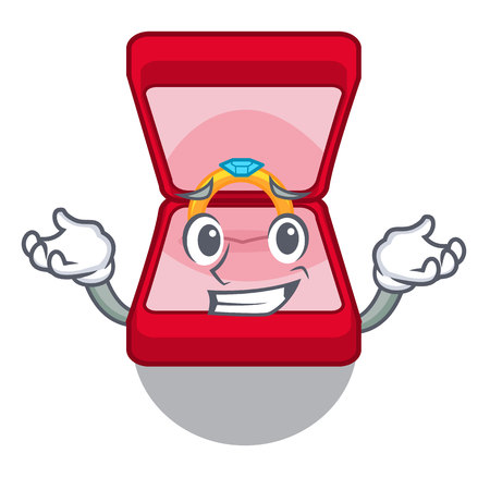 Grinning wedding ring box isolated with mascot vector illustration