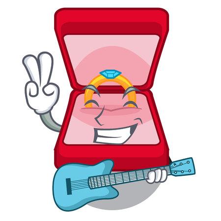 With guitar wedding ring box tables makeup cartoon vector illustration