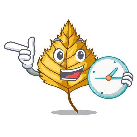 With clock birch leaf isolated in the character vector illustration