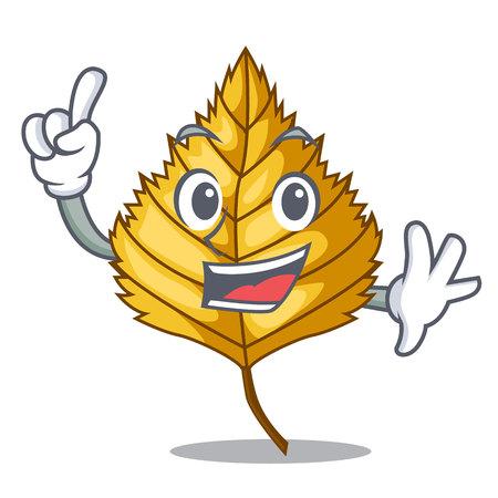 Finger birch leaves next the cartoon tree vector illustration