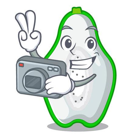 Photographer green papaya isolated in the mascot vector illustration 向量圖像