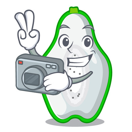 Photographer green papaya isolated in the mascot vector illustration Illustration