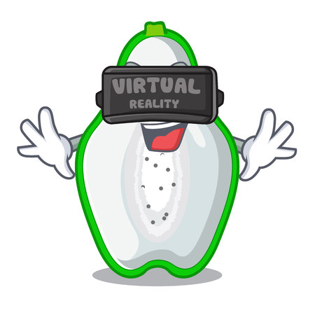 Virtual reality green papaya isolated in the mascot vector illustration