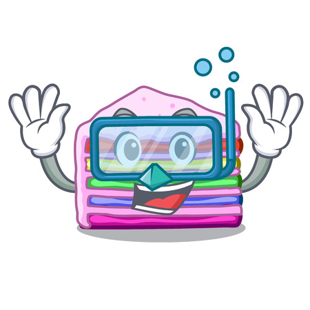 Diving rainbow cake isolated in the character vector illustration