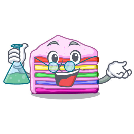 Professor rainbow cake isolated in the character vector illustration