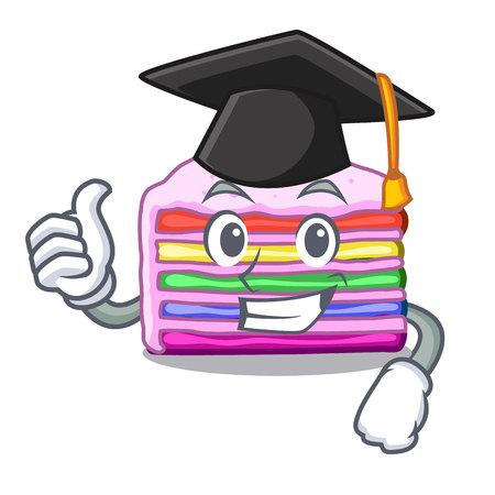 Graduation rainbow cake isolated in the character vector illustration Çizim