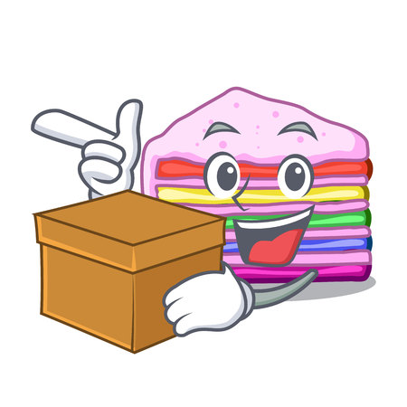 With box rainbow cake isolated in the character vector illustration