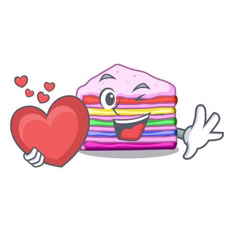 With heart rainbow cake in the cartoon shape vector illustration
