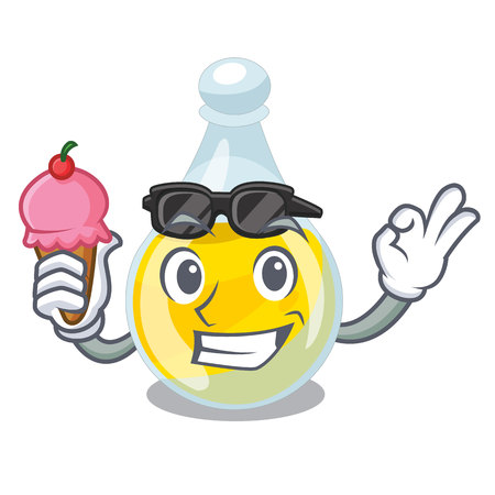 With ice cream sesame oil isolated with the cartoon vector illustration