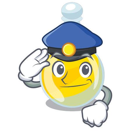 Aceite de sésamo de la policía en una ilustración de vector de botella de dibujos animados Ilustración de vector