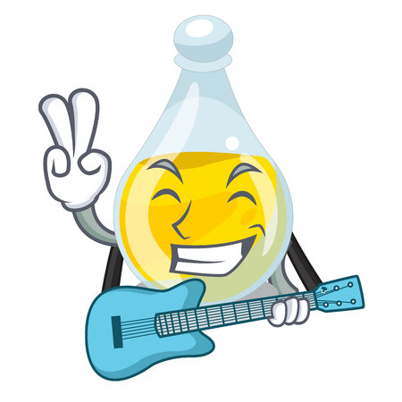 With guitar sesame oil in a mascot bowl vector illustration