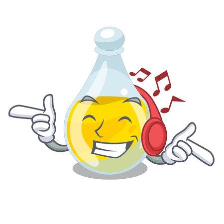 Listening music sesame oil in a mascot bowl vector illustration