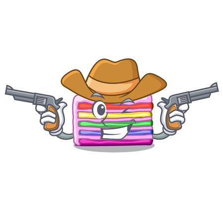 Cowboy rainbow cake on plastic cartoon plate Ilustração