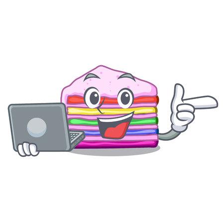 With laptop rainbow cake on plastic cartoon plate vector ilustration