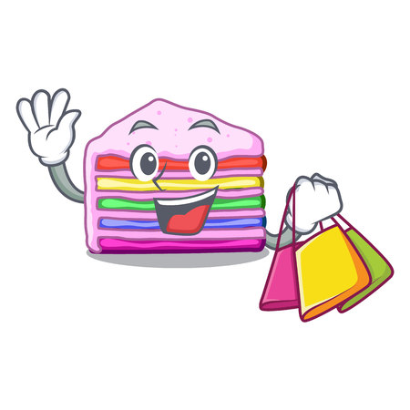Shopping rainbow cake isolated in the character vector illustration