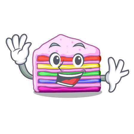 Waving rainbow cake isolated in the character vector illustration