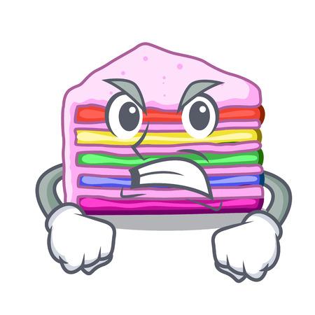Angry rainbow cake in the cartoon shape vector illustration Illustration