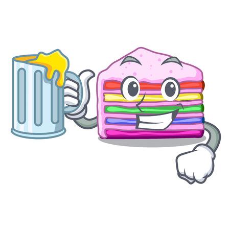 With juice rainbow cake in the cartoon shape vector illustration Illustration