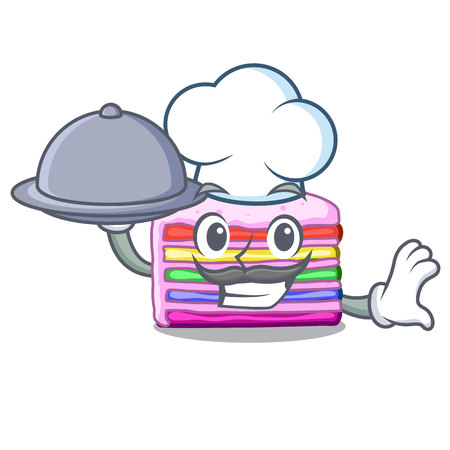 Chef with food rainbow cake in the cartoon shape