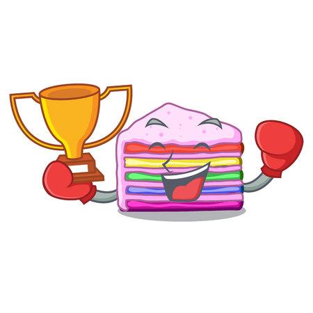 Boxing winner rainbow cake in ice mascot cupboard vector illustration Ilustração