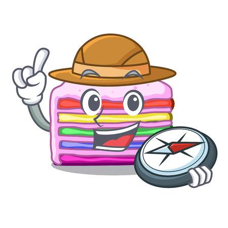 Explorer rainbow cake in the cartoon shape vector illustration