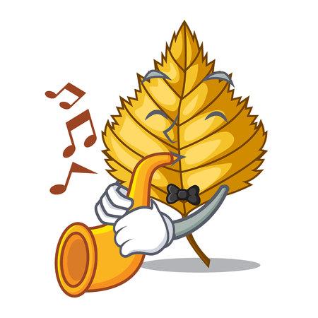 With trumpet birch leaves spread the cartoon sticks vector illustration
