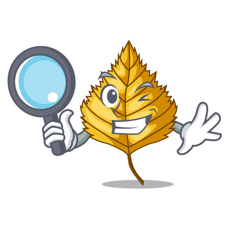 Detective birch leaf isolated in the character