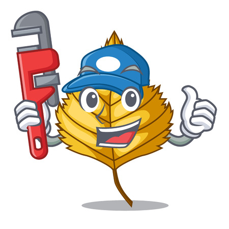 Plumber birch leaves next the cartoon tree vector illustration