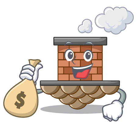 With money bag brick chimney in the shape mascot vector illustration