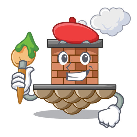 Artist brick chimney in the shape mascot Illustration