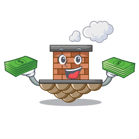 With money bag miniature cartoon brick chimney above table vector illustration