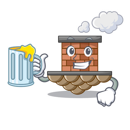 With juice miniature cartoon brick chimney above table vector illustration