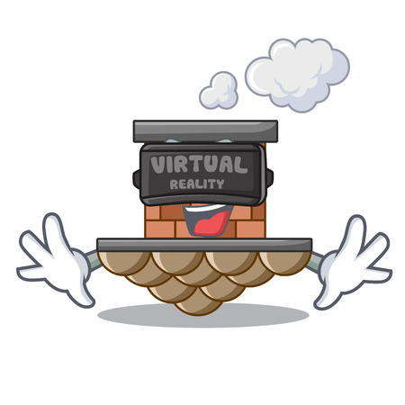 Virtual reality miniature cartoon brick chimney above table vector illustration Illustration