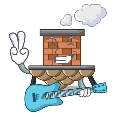 With guitar miniature cartoon brick chimney above table vector illustration