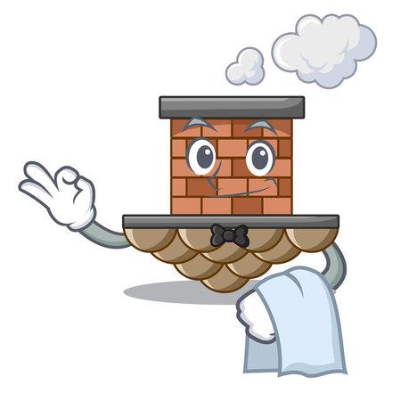Waiter miniature cartoon brick chimney above table vector illustration