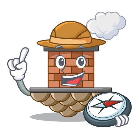 Explorer miniature cartoon brick chimney above table vector illustration