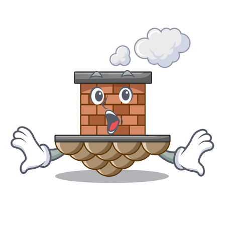 Surprised miniature cartoon brick chimney above table vector illustration